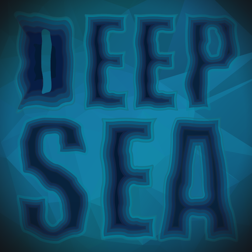 I wanted to replicate a topographical map of the deep sea with the letters here. Vectored in illustrator.