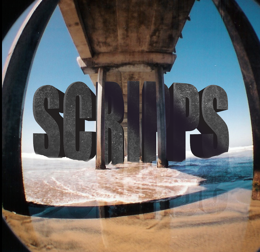 Environmental interactive type. Here i placed some rendered type under the La Jolla Scripps Pier. Rendered in illustrator and photoshop.