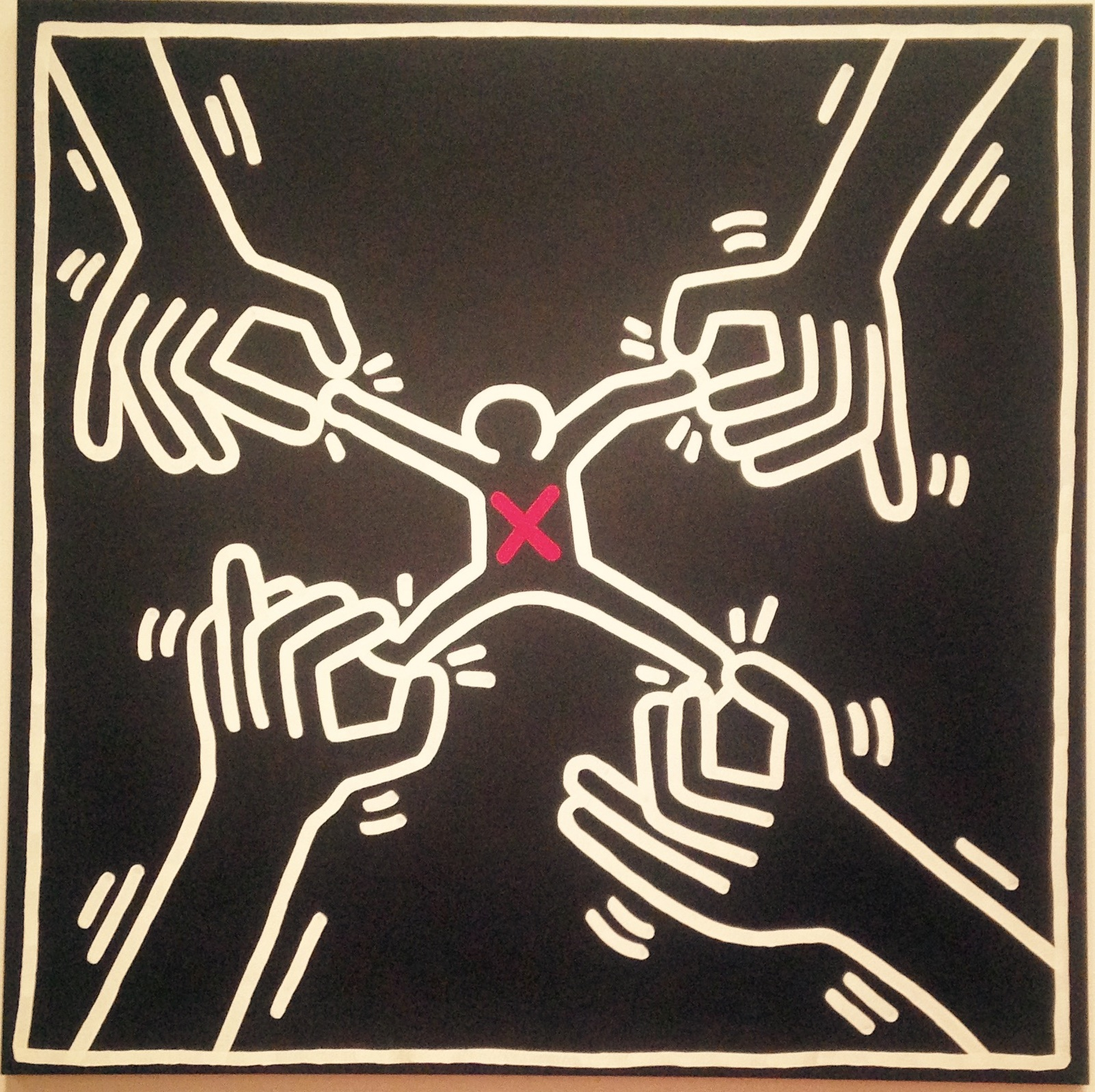 """Keith Haring, """"Untitled,"""" 1985. Feeling pulled in many directions? Learning to love your body might help!"""