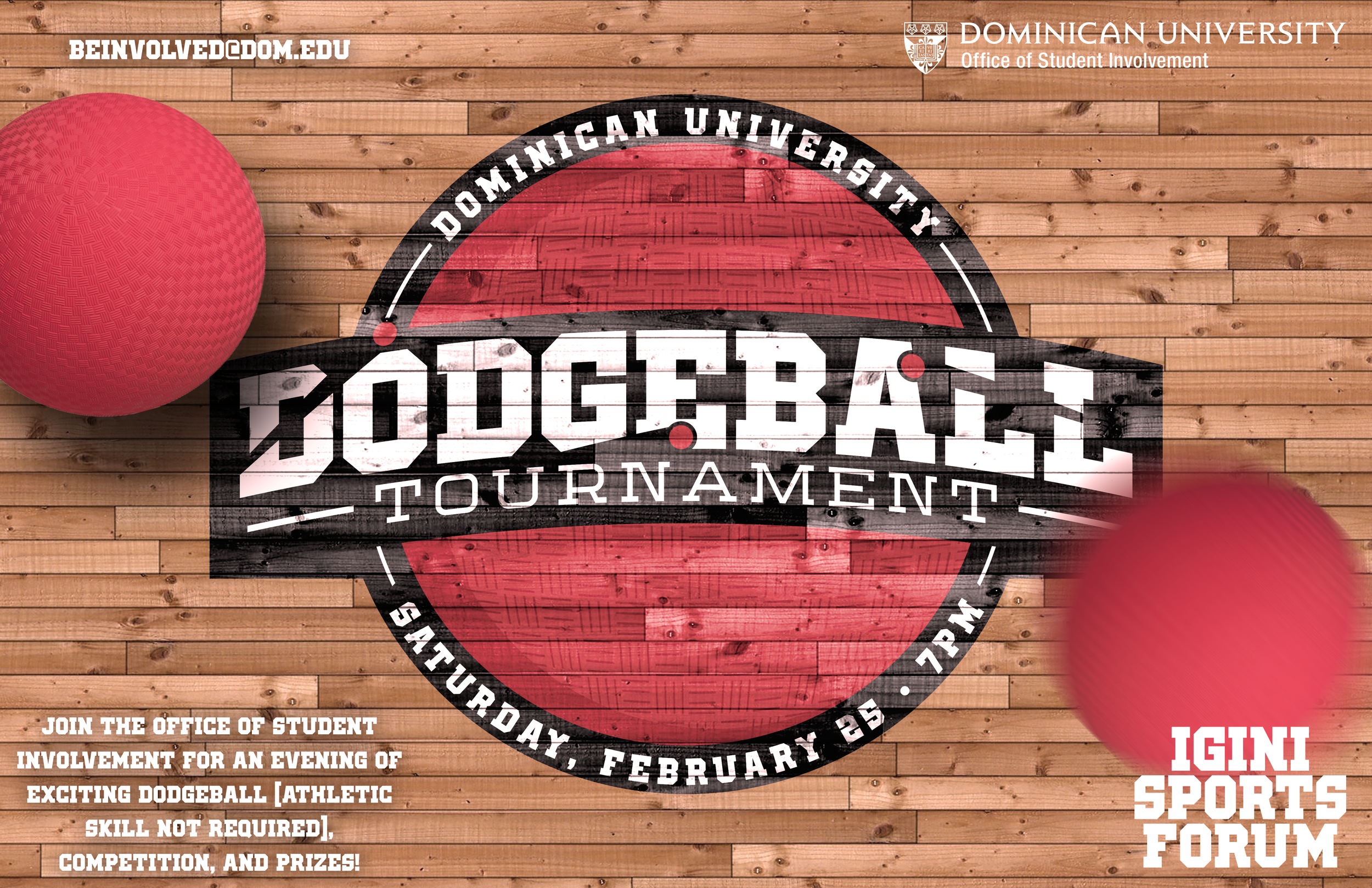 Dodgeball logo, flyer, and digital promo for annual on-campus tournament.