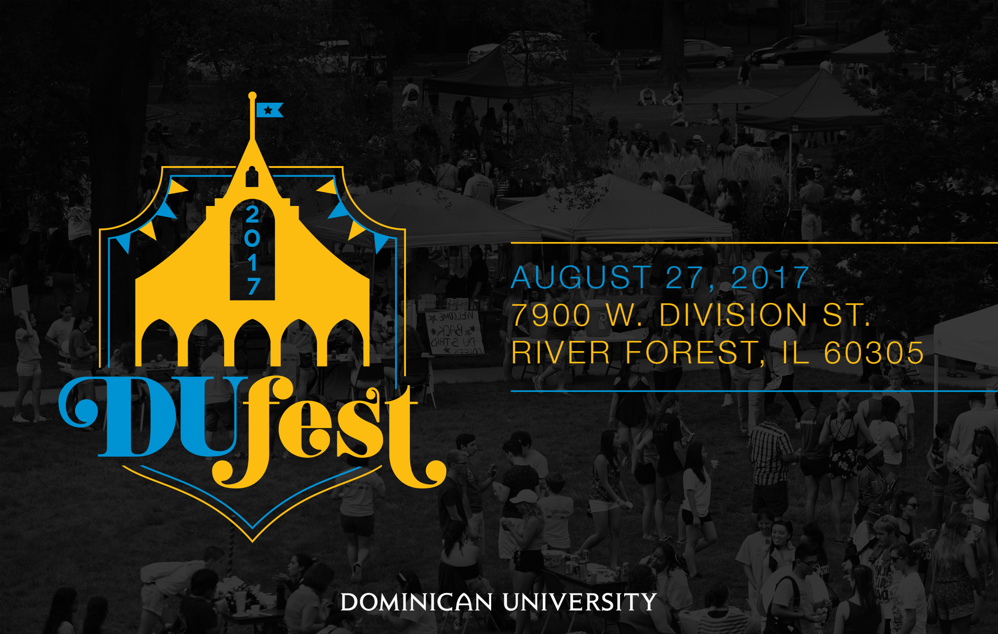 DU Fest logo for the University's annual Welcome Back Weekend orientation festival. Artwork used on shirts, digital, and print promo.