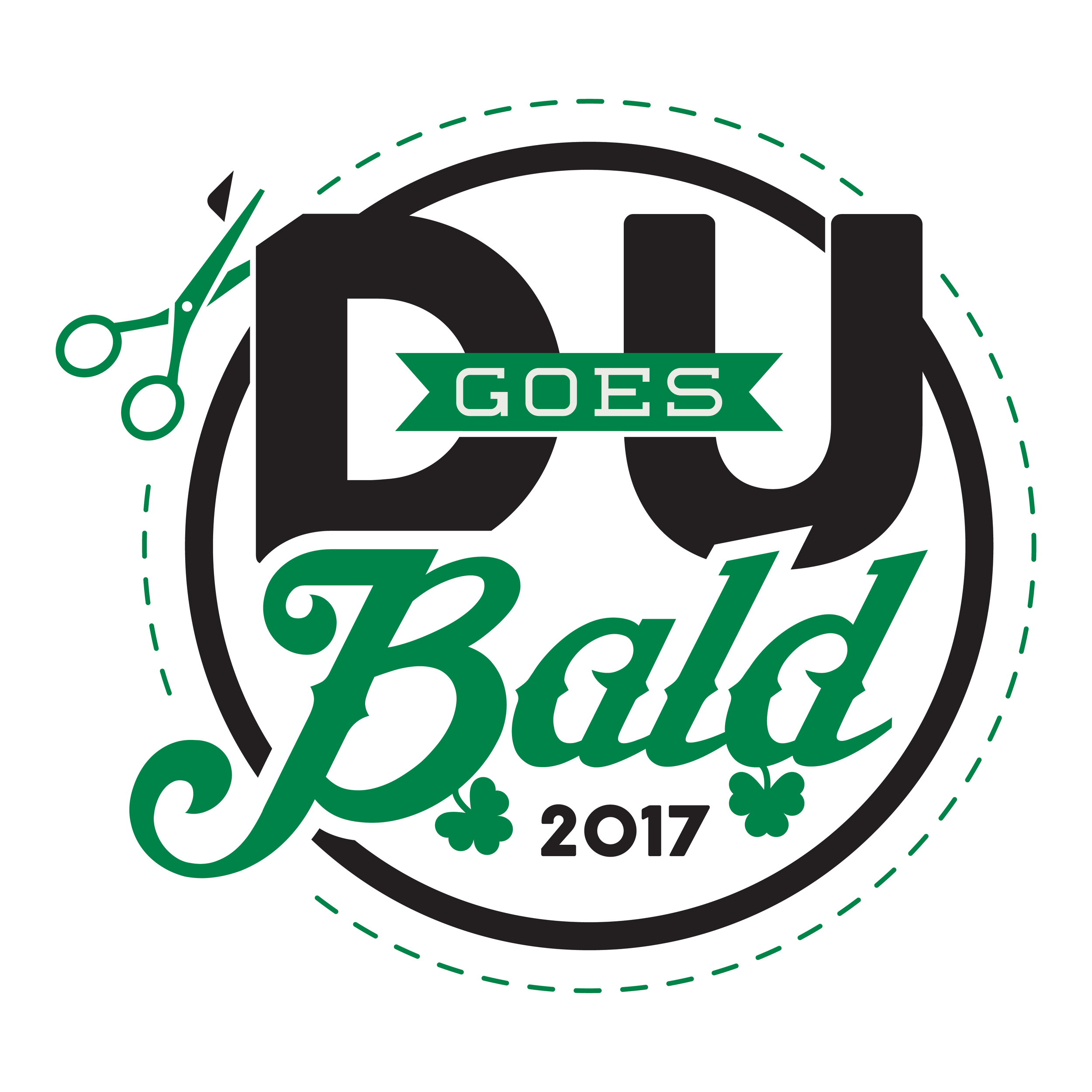 DU Goes Bald logo created for the St. Baldrick's event to raise money for children's cancer research.