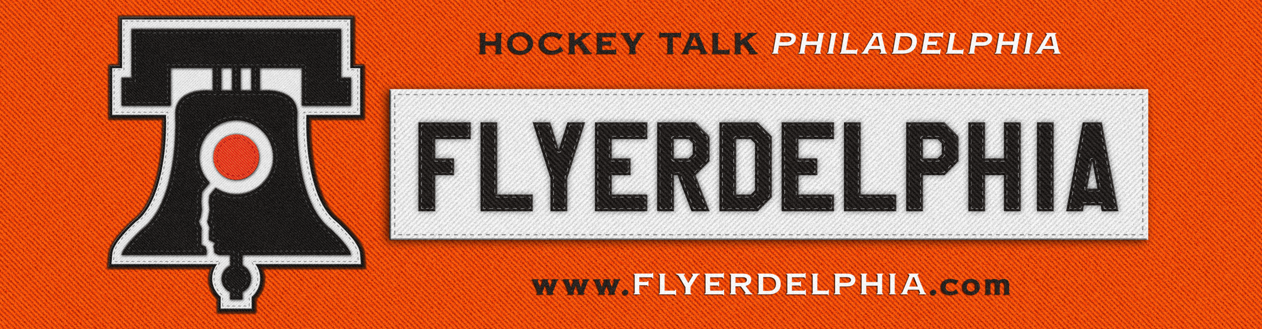 Flyerdelphia logos show The Liberty Bell with the team's iconic colored circles in the center. The team's iconic white nameplate also is shoed to display Flyerdelphia.