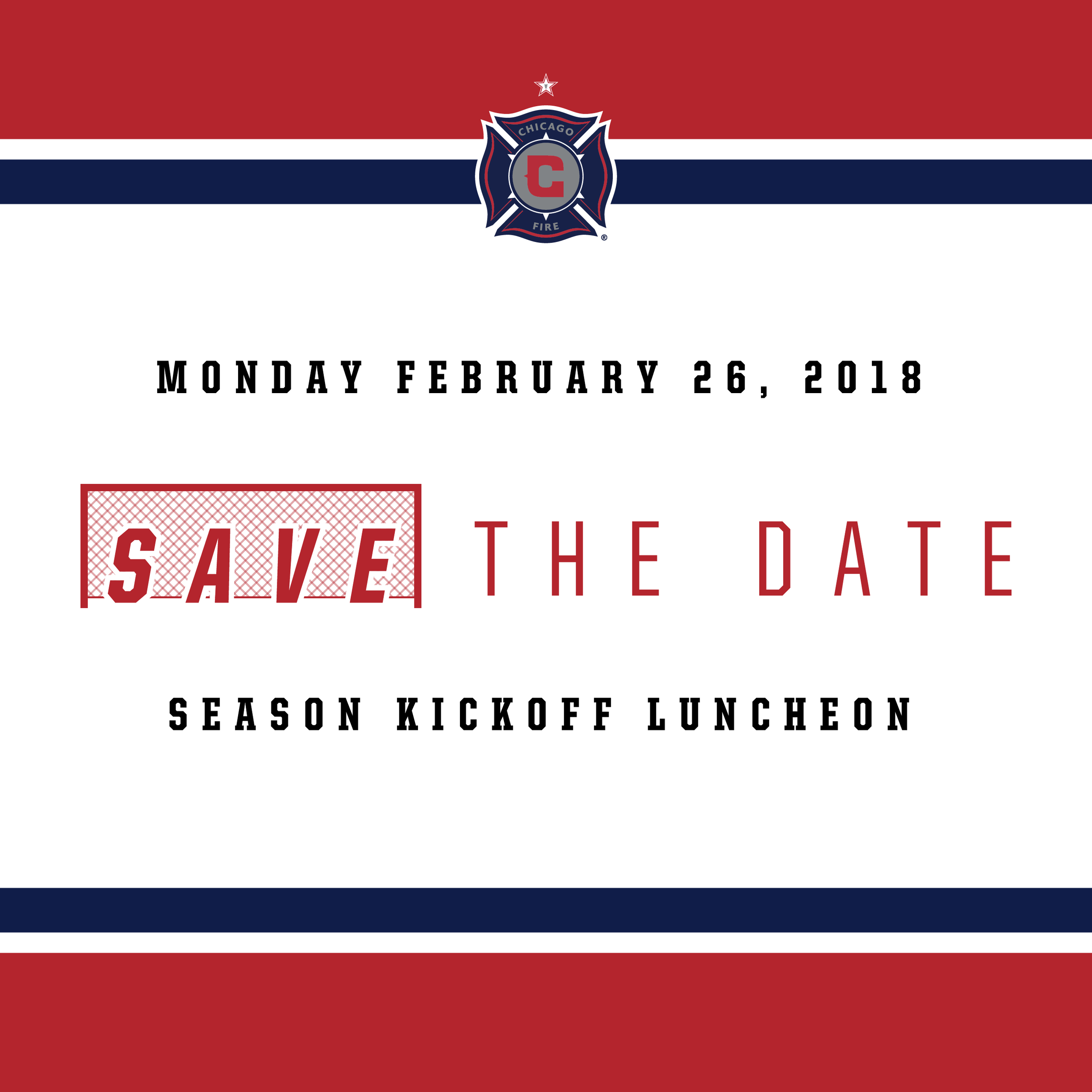 Save The Date text design for the club's annual Season Kickoff Luncheon promotion.
