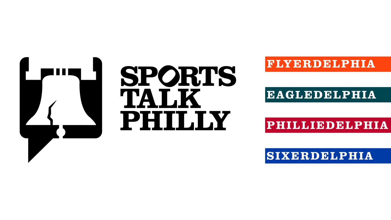 """The Sports Talk Philly logo includes the liberty bell inside of a speech bubble. The text has an angled """"O"""" referring to the iconic """"Love"""" statue in downtown Philadelphia."""