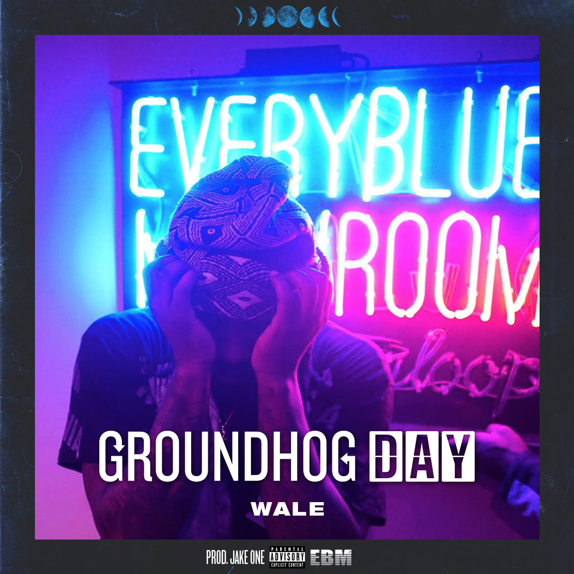 Official single cover artwork for Wale's J Cole response track titled Groundhog Day. Cover features custom text to represent repetition.