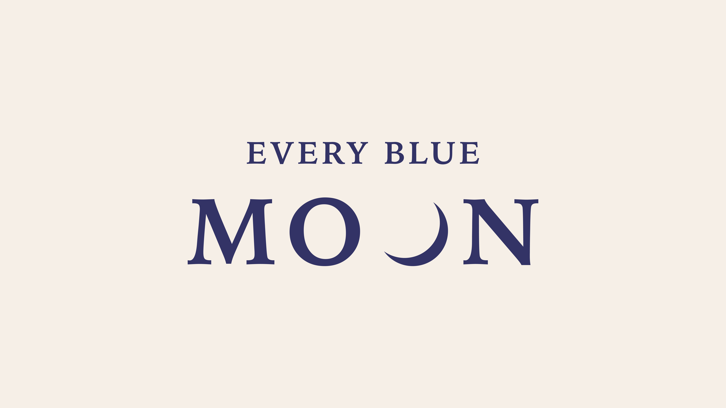 UNUSED primary, alternate, and wordmark logos for hip hop artist Wale's management company and record label Every Blue Moon. The designs include a full blue moon & crescent moon as the second O in moon, along with a color palette supplied by EBM.