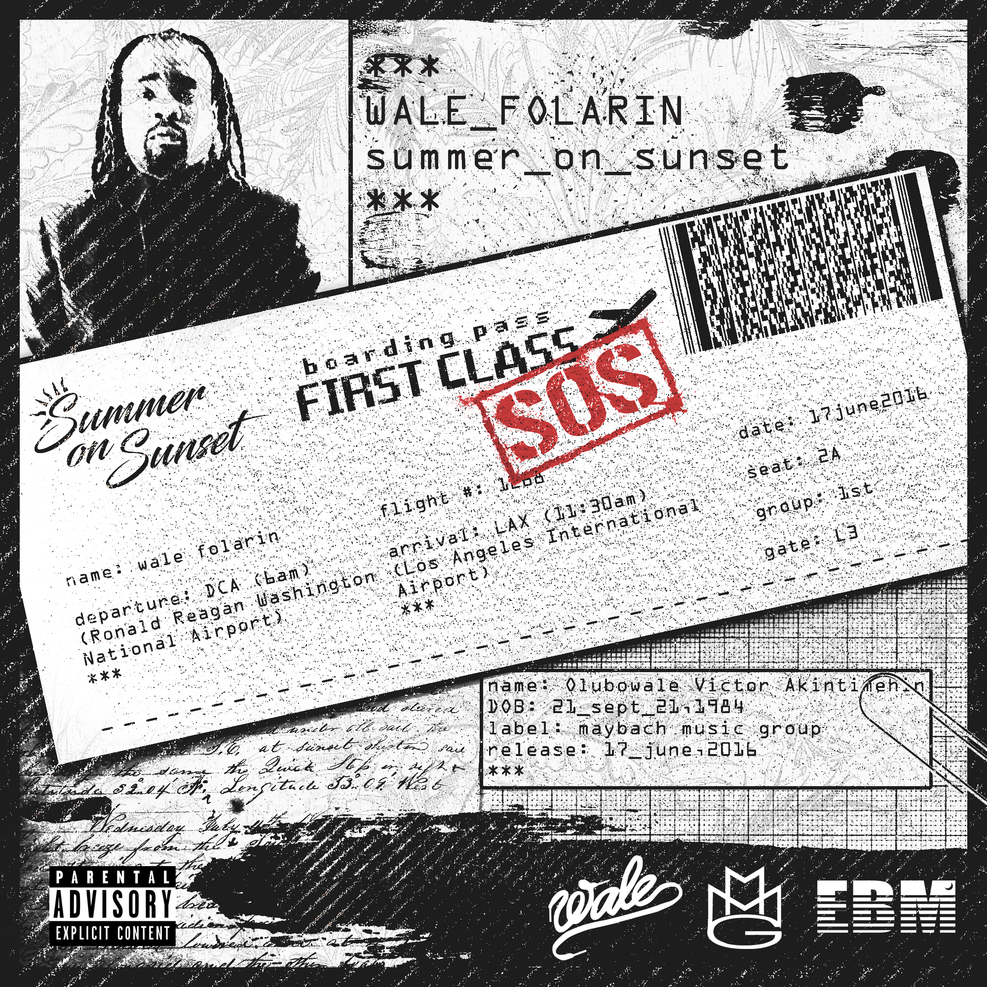 """UNUSED mixtape front cover artwork designed for Wale's 2016 project """"Summer on Sunset"""". Artwork features a boarding pass from Wale's hometown (DC) to LAX."""