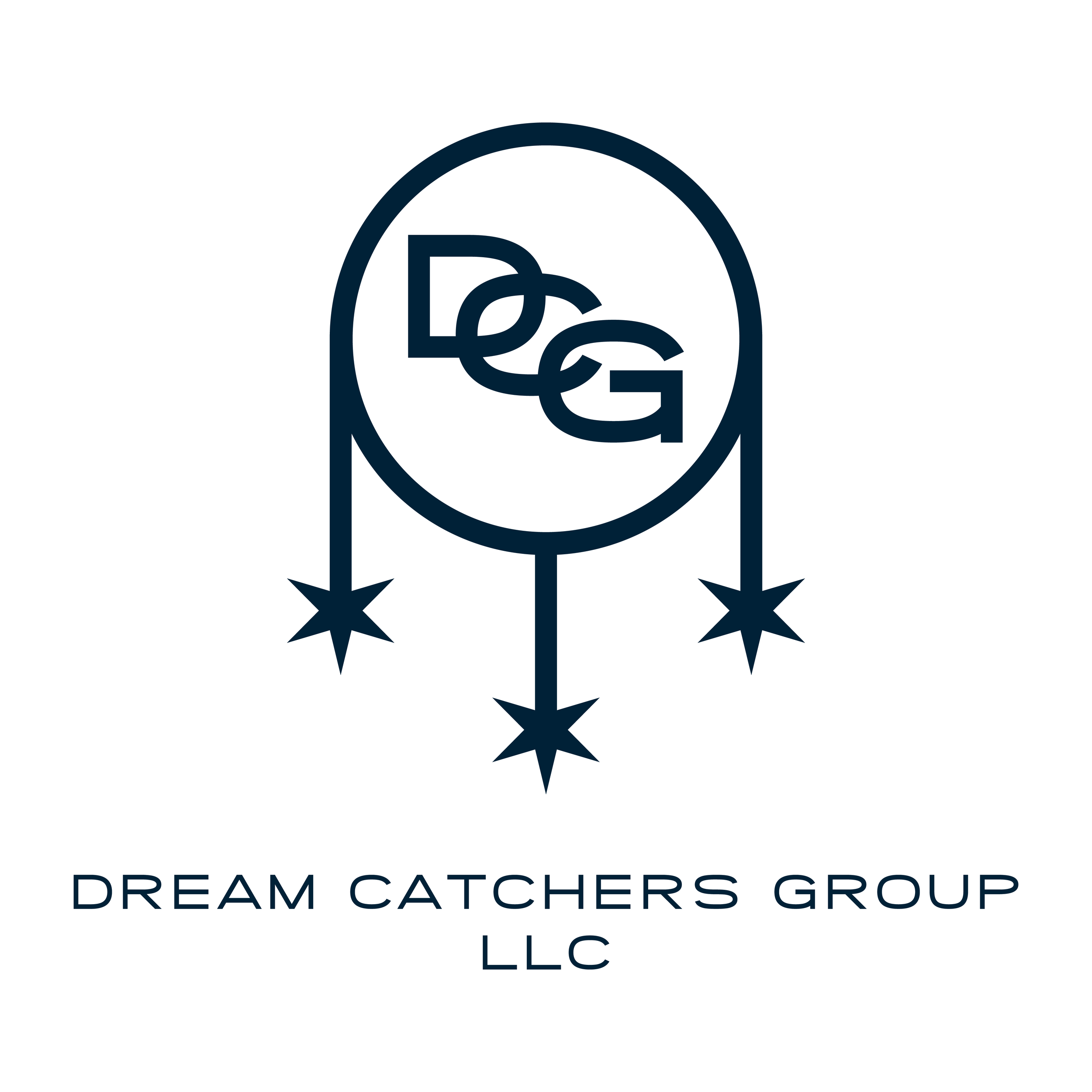 Logo design for Chicago based music consultation LLC Dream Catchers Group. The logo includes 3 Chicago stars, representing the founders, hanging from a dream catcher wrapping around DCG.