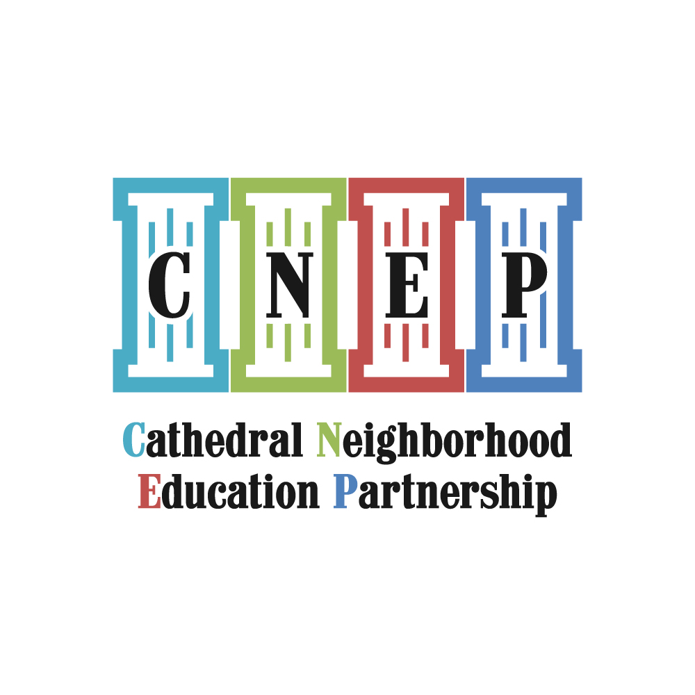Primary logo for professional development school partnership program including University of St. Francis and St. Raymon's Cathedral School.Colors of pillars coordinate with values of the program.