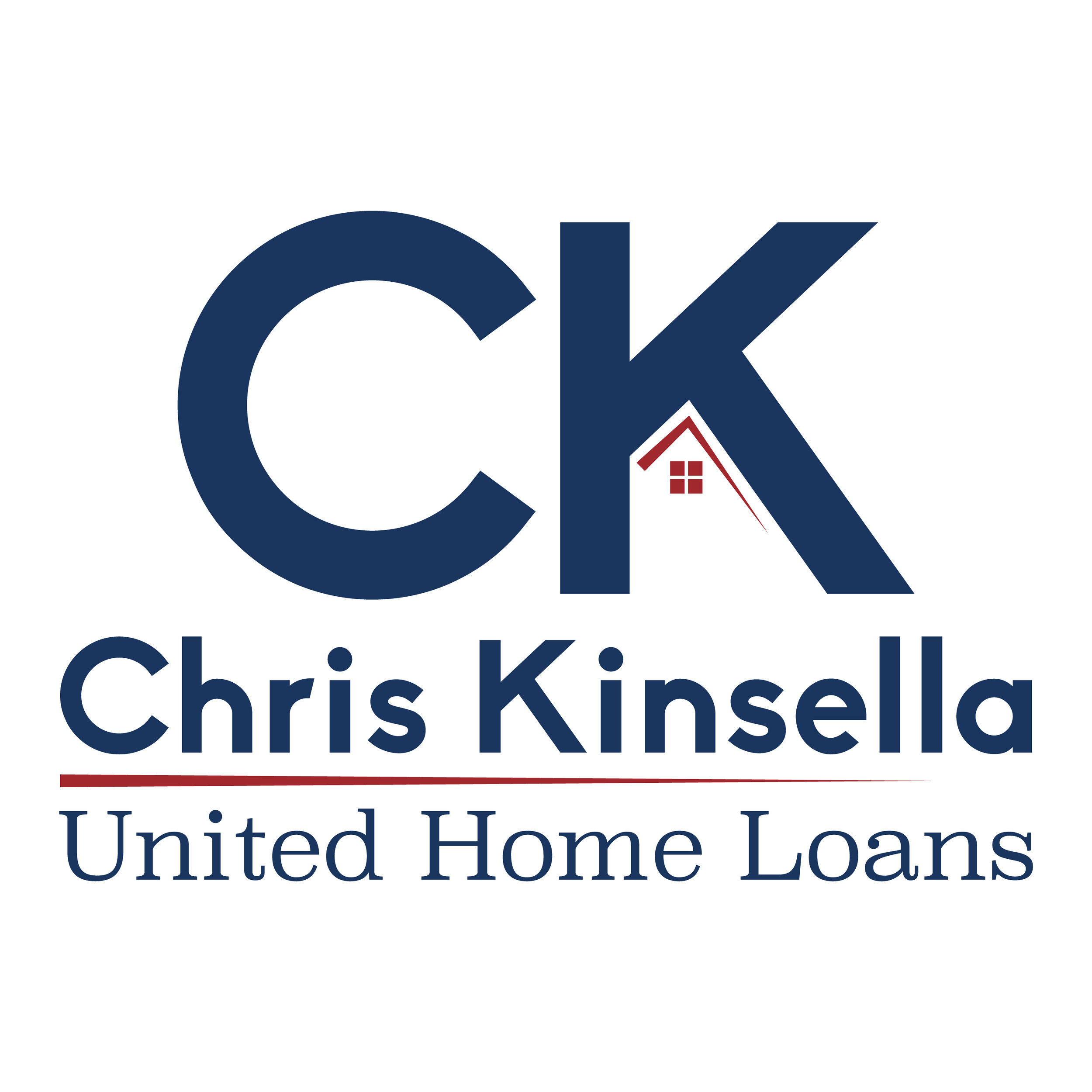 Personal idenity design for Chris Kinsella, Senior Mortgage Banker at United Home Loans. Logo features initals along with a simple home shape.