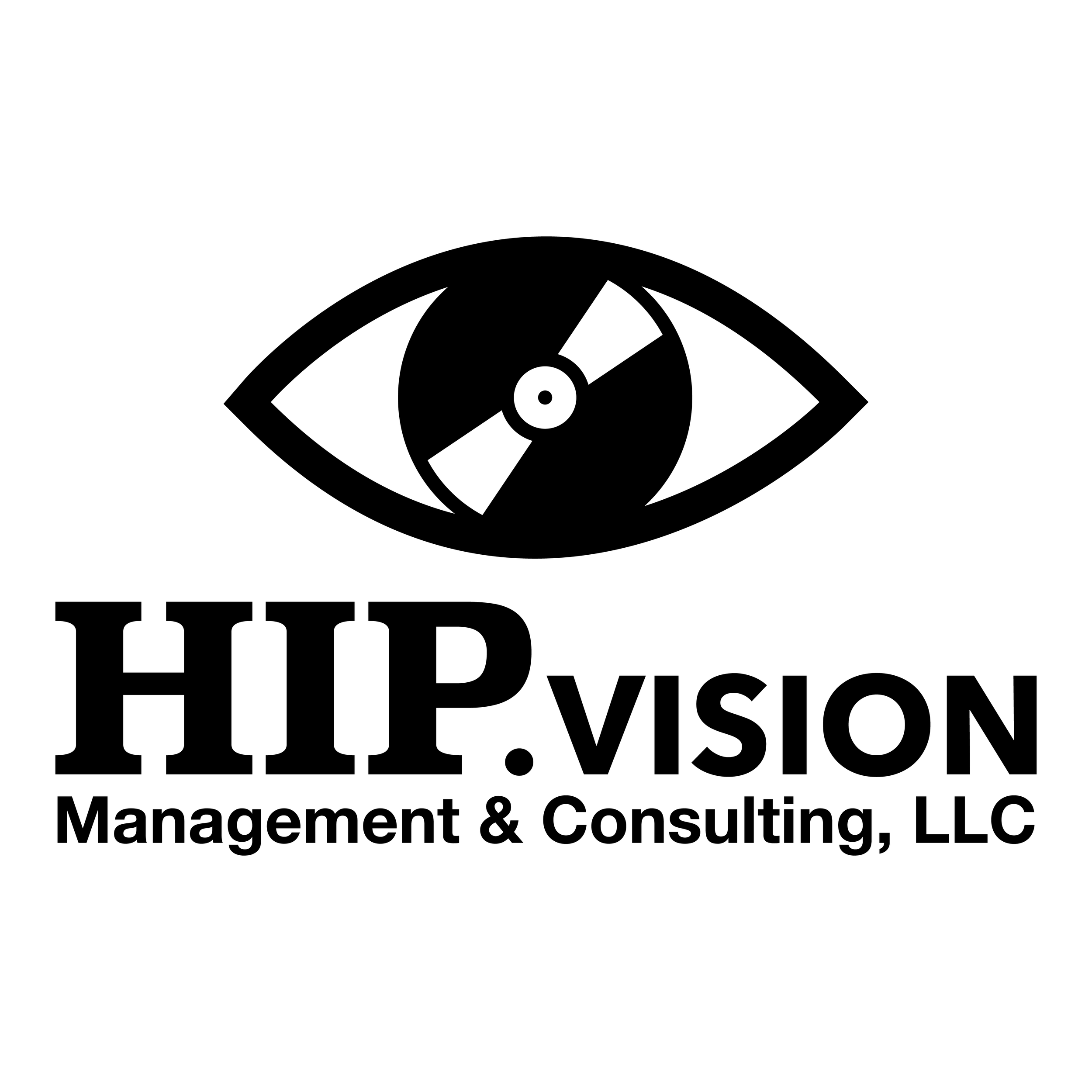 Logo design for Chicago-based music management and consulting group, Hip.Vision. Artwork features a record inside of an eye.