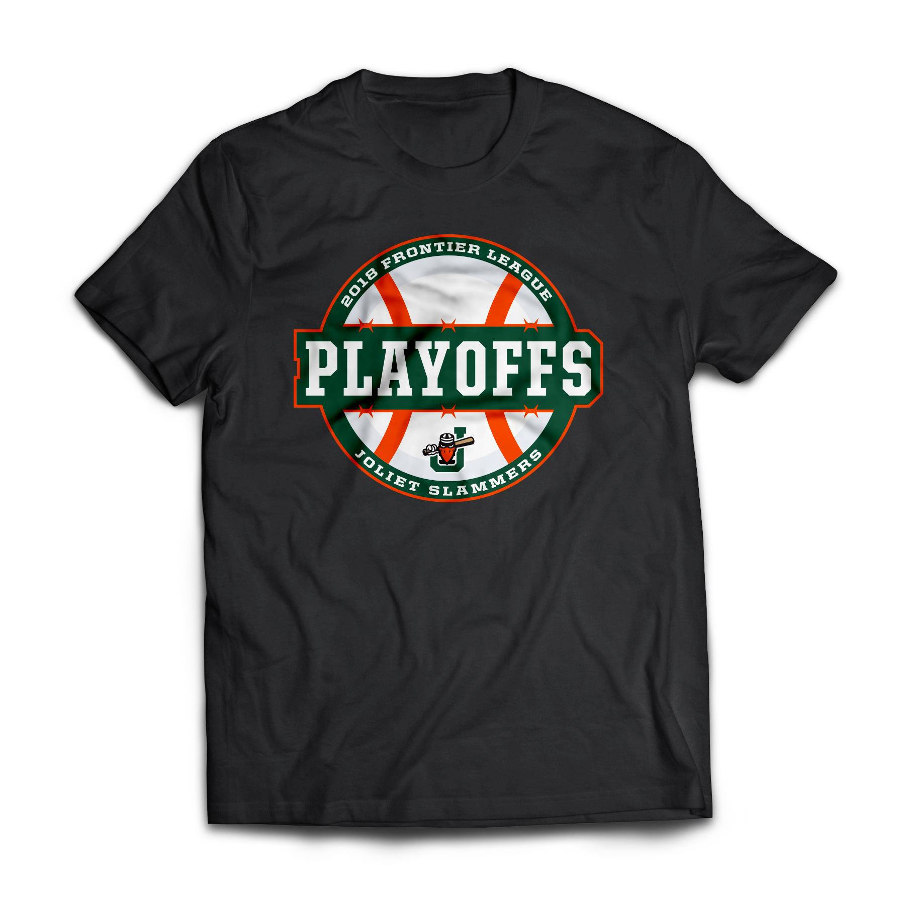Joliet Slammers 2018 Frontier League Playoffs logo and shirt design.