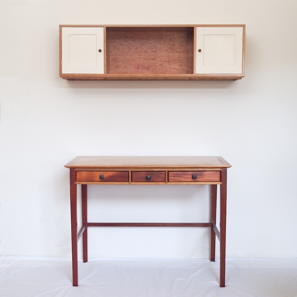 Over the Desk Wall Cabinet with Light Bar