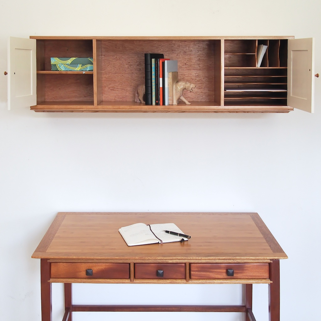 Over the Desk Wall Cabinet for Storage and Light