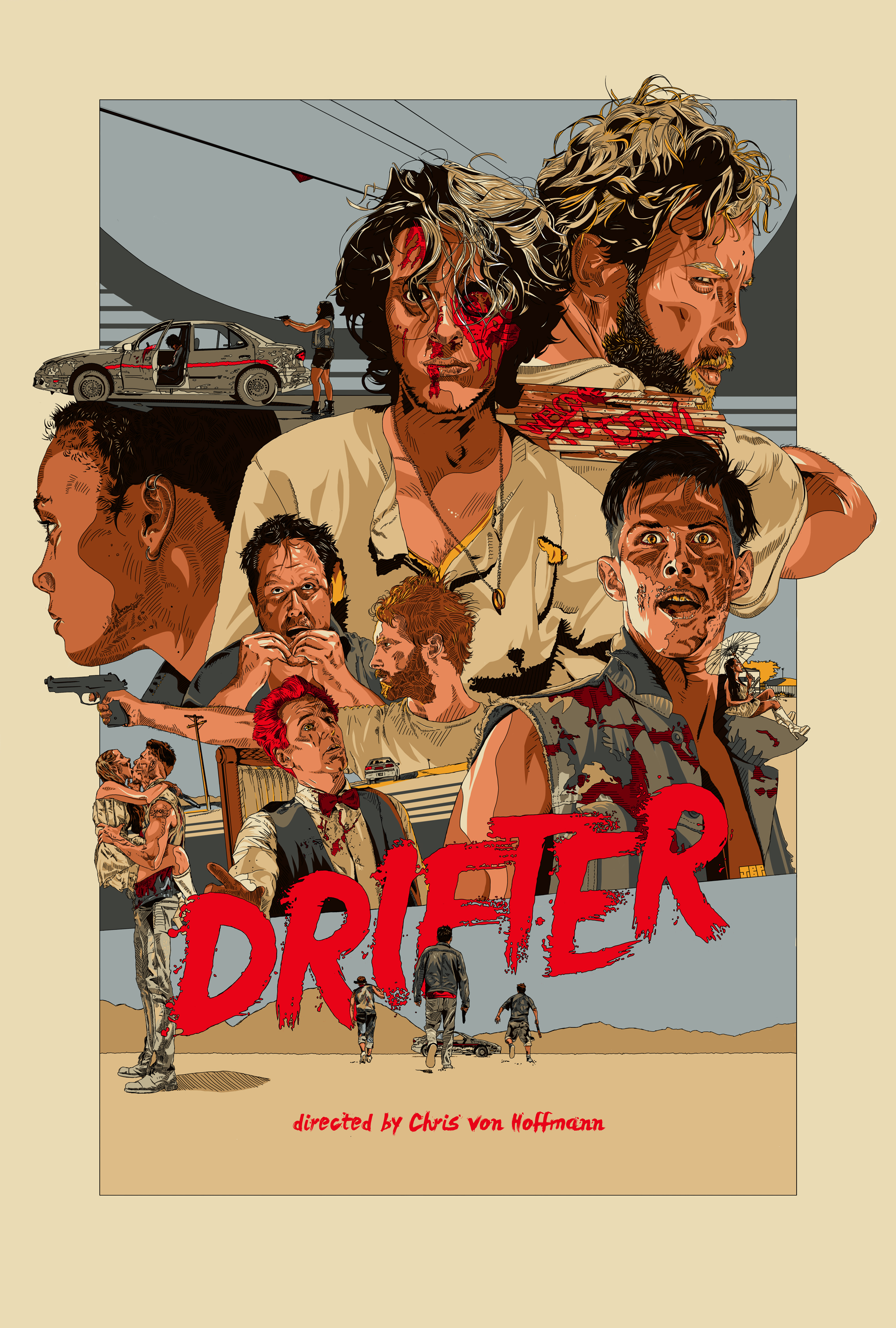 Regular One Sheet for the feature film   DRIFTER  . Directed by Chris von Hoffmann and starring Aria Emory,Drew Harwood, Anthony Ficco, Rebecca Fraiser,and Jonah Ehrenreich.    Original artwork by   Jonathan B Perez ©