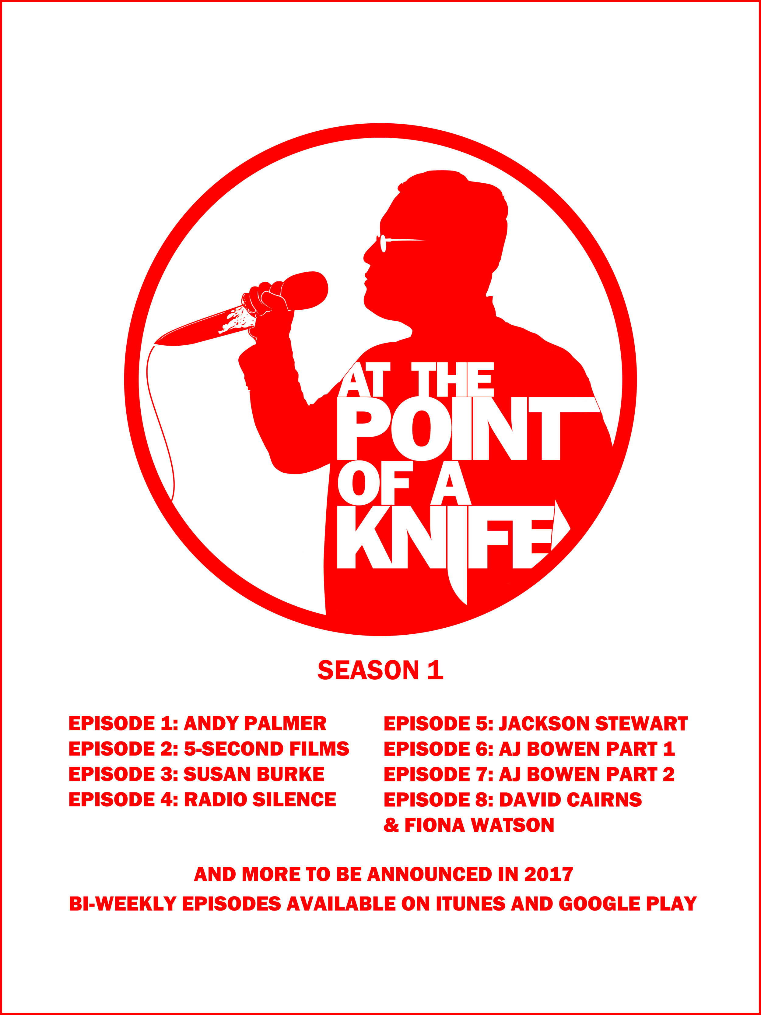 """Season Roster poster for Season one of """"At The Point of a Knife"""" hosted by Eric Navarrette  Original artwork by  Jonathan B Perez ©"""
