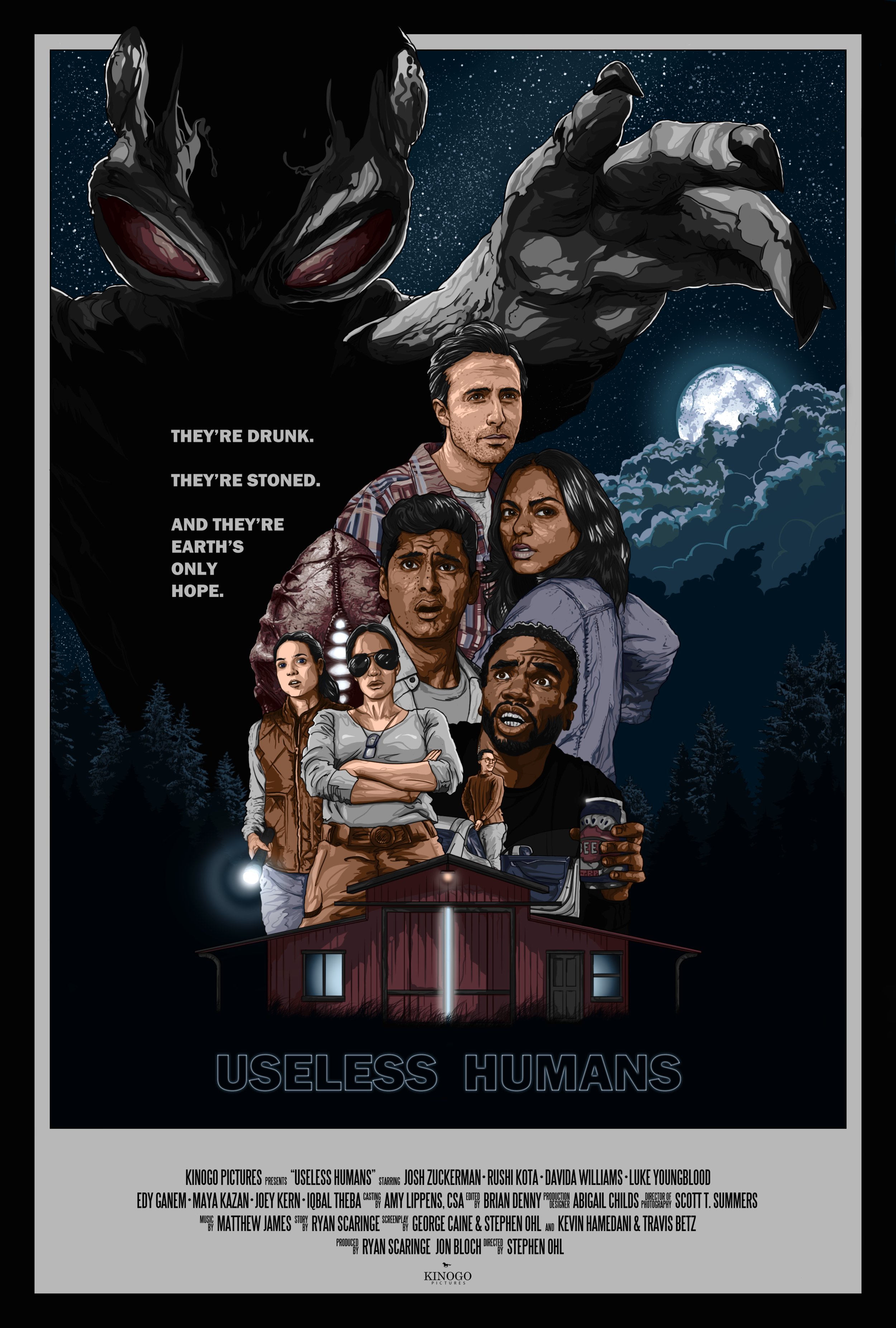 """Official One Sheet for the feature film """"Useless Humans"""" (2019) from Kinogo Pictures. A film by Stephen Ohl.  Original artwork by  Jonathan B Perez ©"""