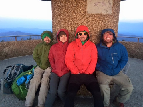 Sitting on top of Clingmans Dome at dawn was the coldest