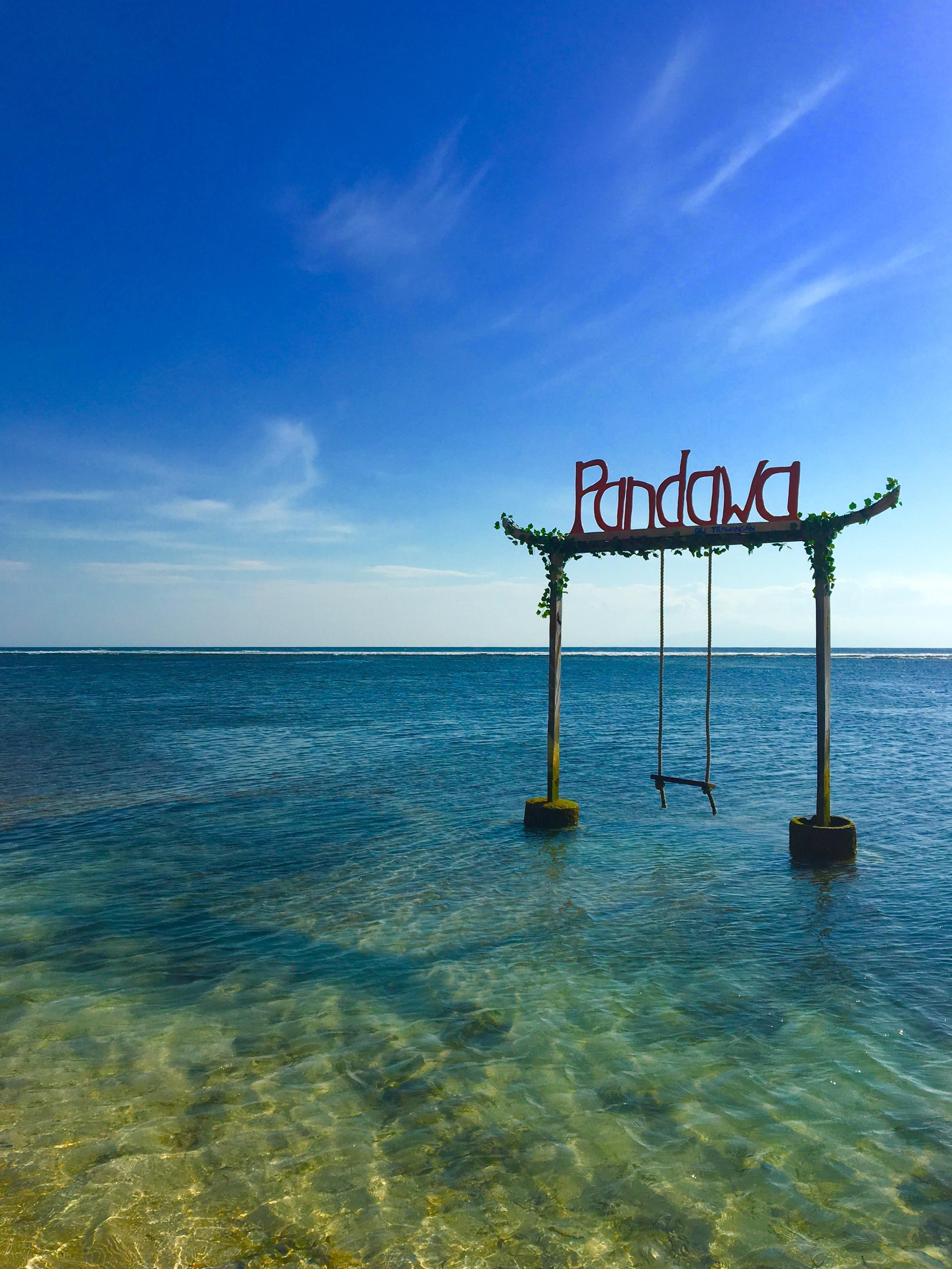 A swing in the sea in Gili Trawangan