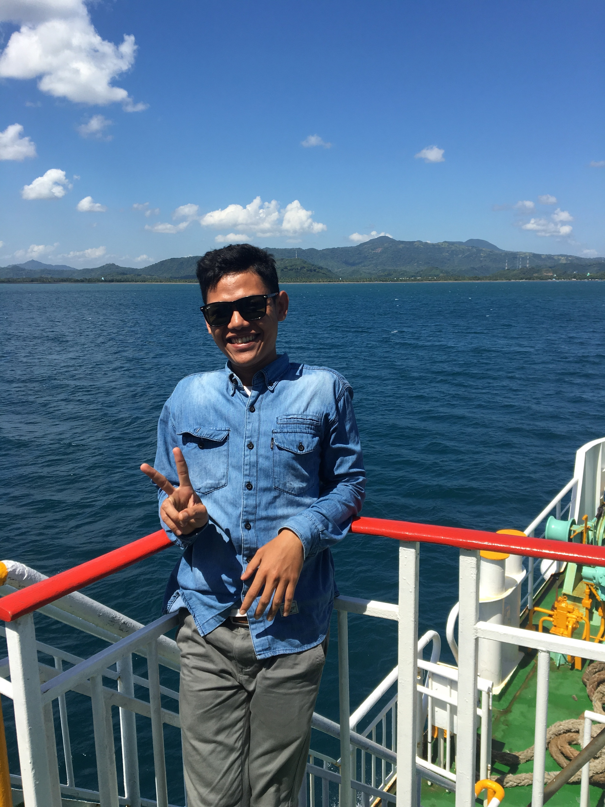 Poan on the ferry to Lombok