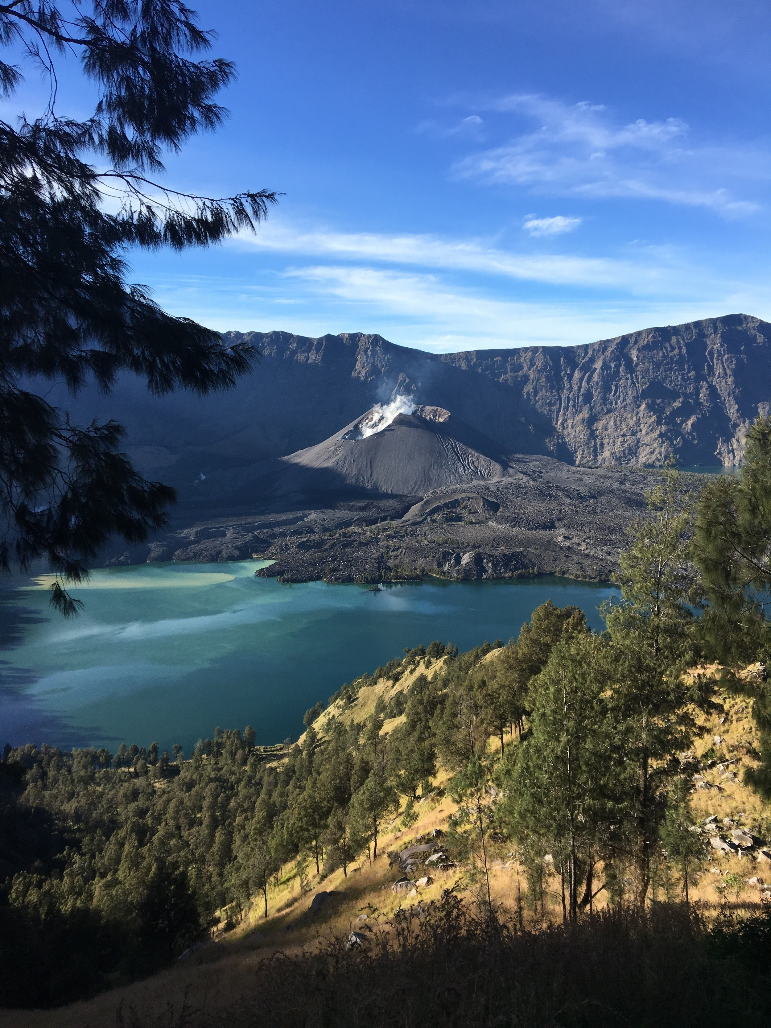 The active volcano in the Rinjani crater