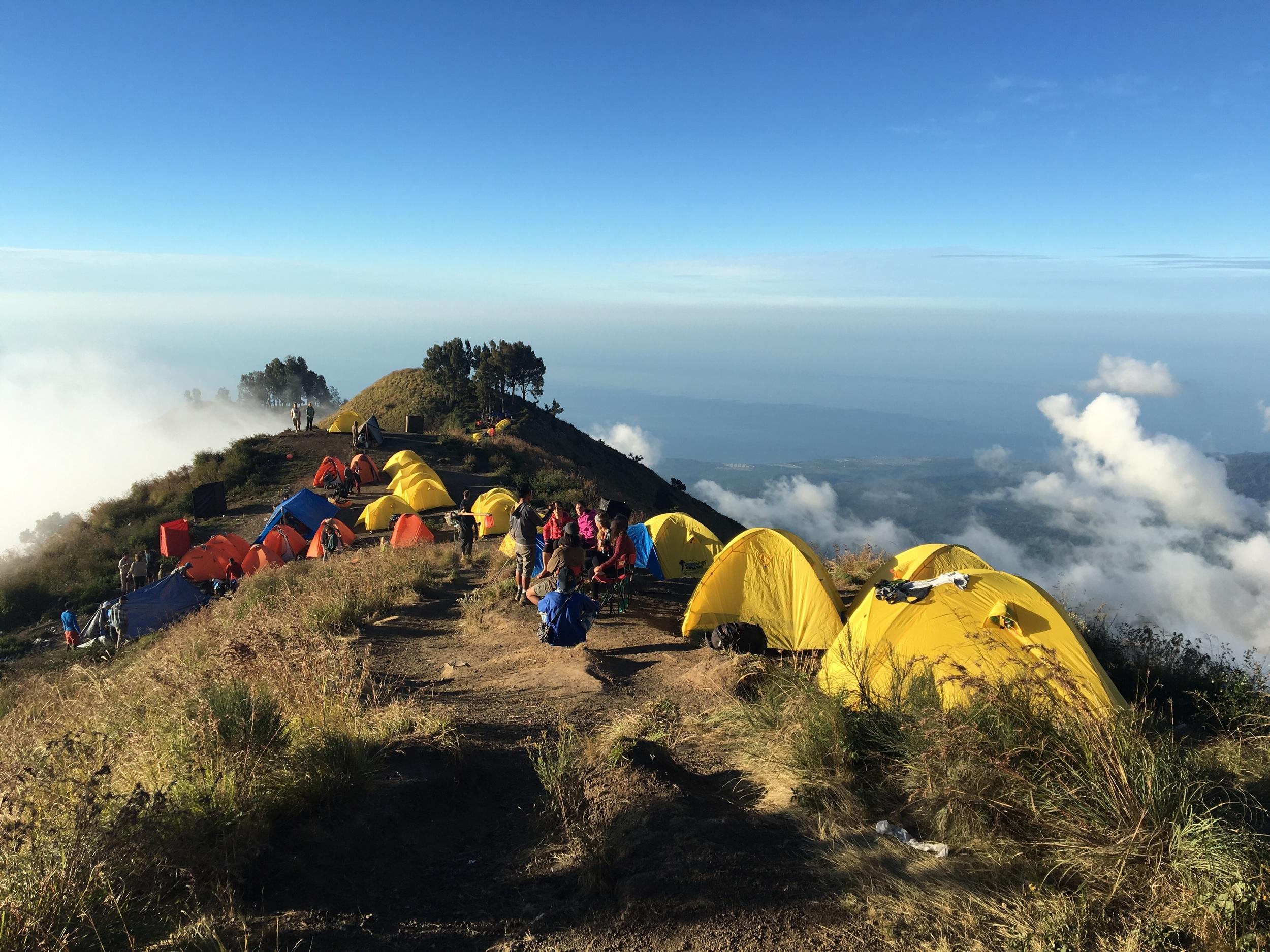 Camping just below the summit of Gunung Rinjani