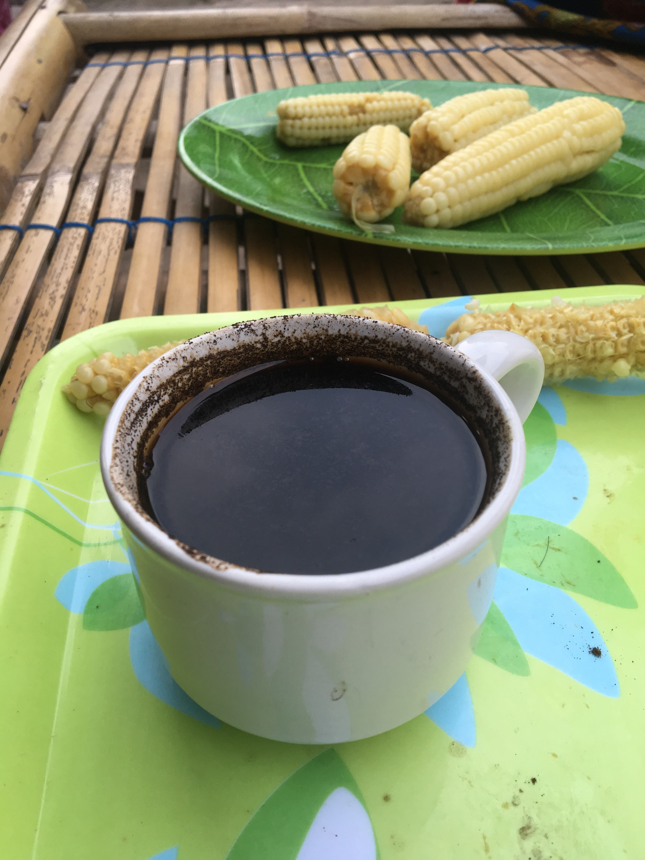 Lombok coffee and sweet corn - a simple breakfast