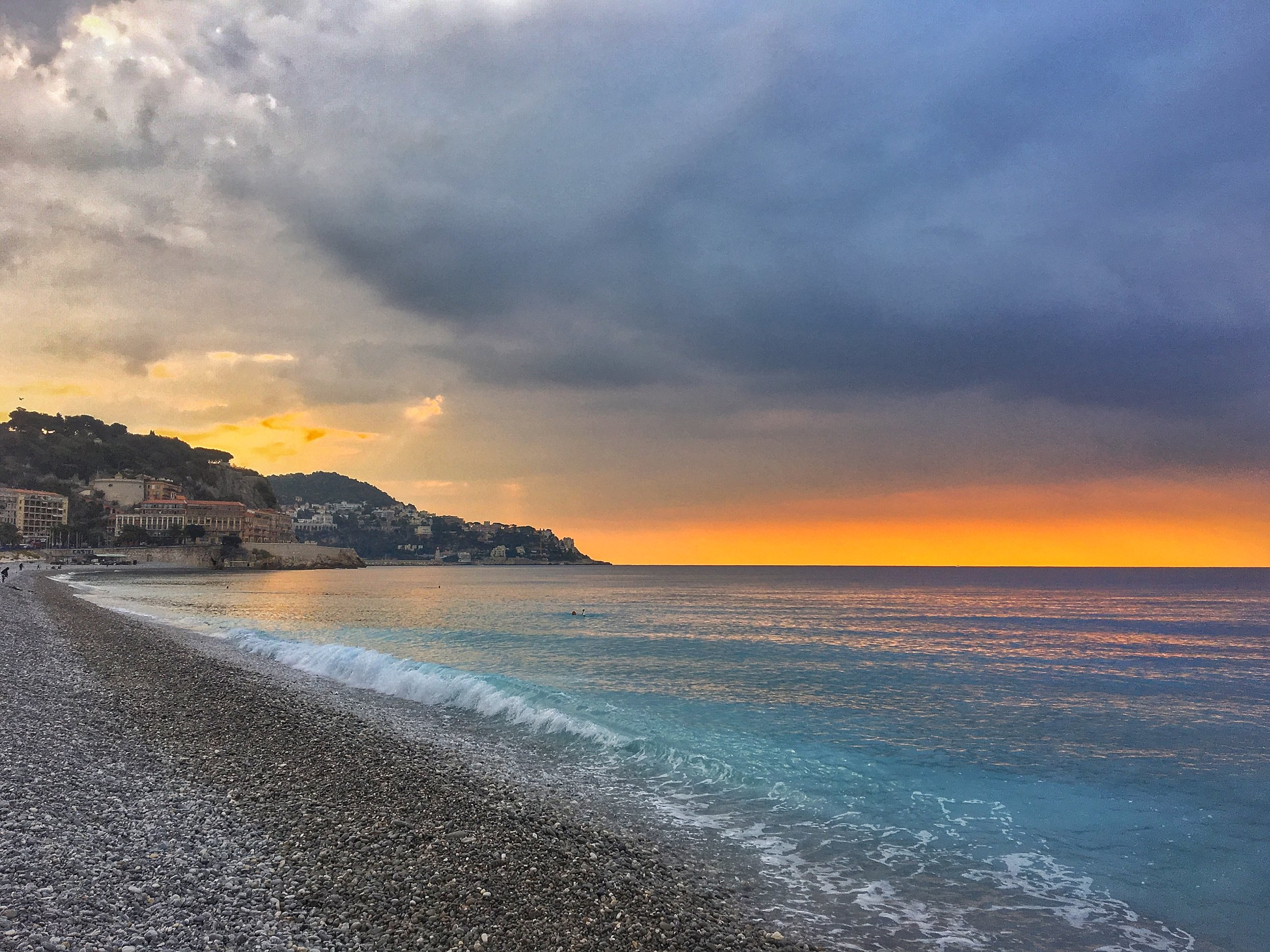 The beach at sunrise in Nice