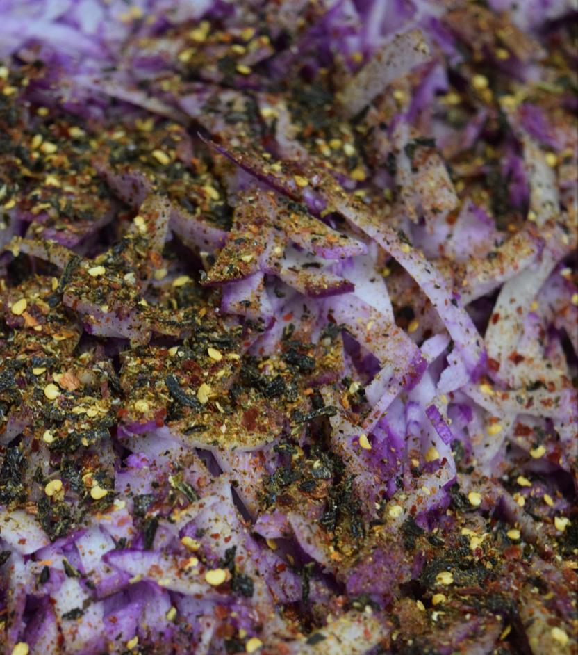 Purple Daikon & Dehydrated, Powdered Poblano and Jalapeno