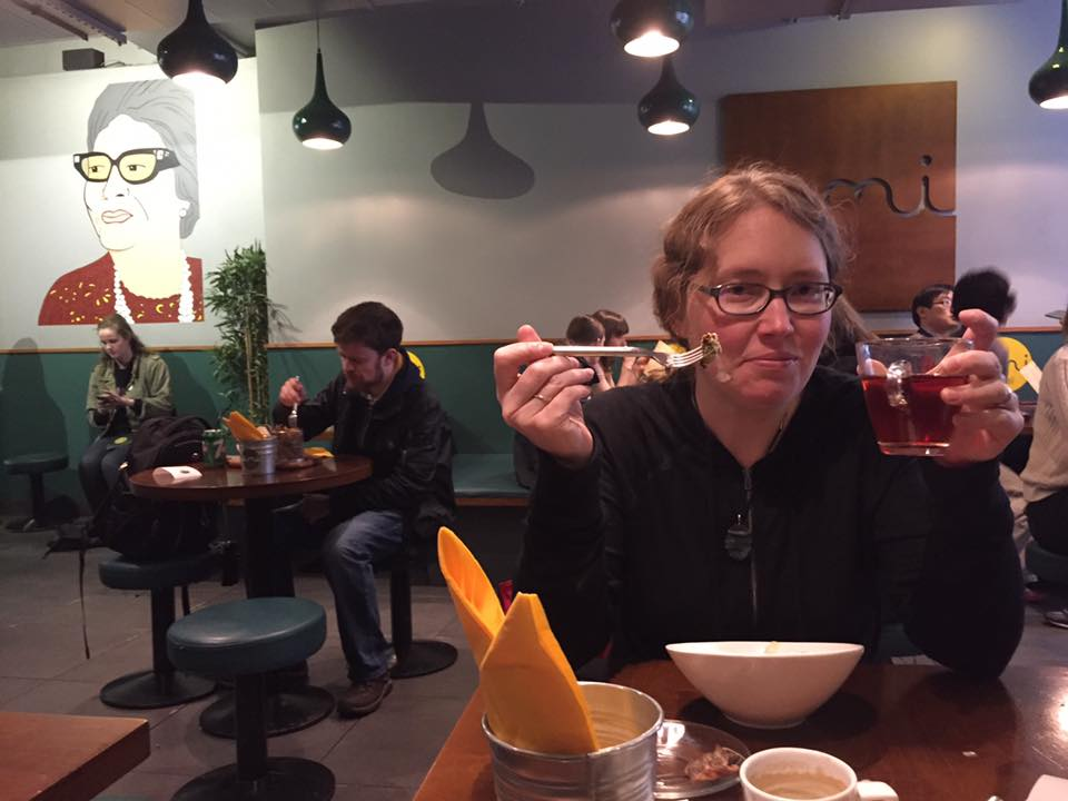 Julie Gard, prose poet does jet lag tea and falafel.