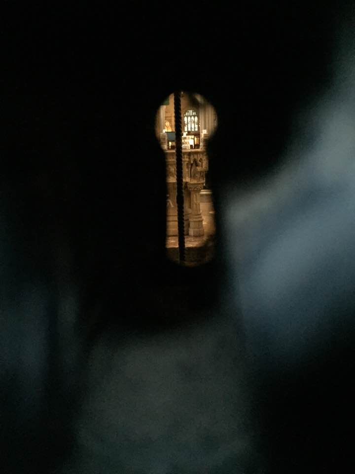 Through the night keyhole at Bath abbey