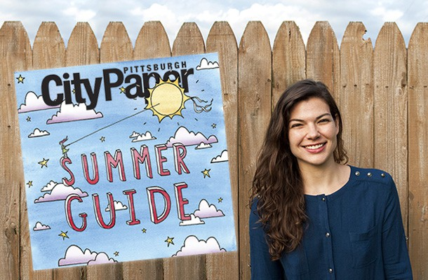 Pittsburgh artist Emily Traynor with her Summer Guide cover illustration. Photo courtesy of Peter Morsillo.
