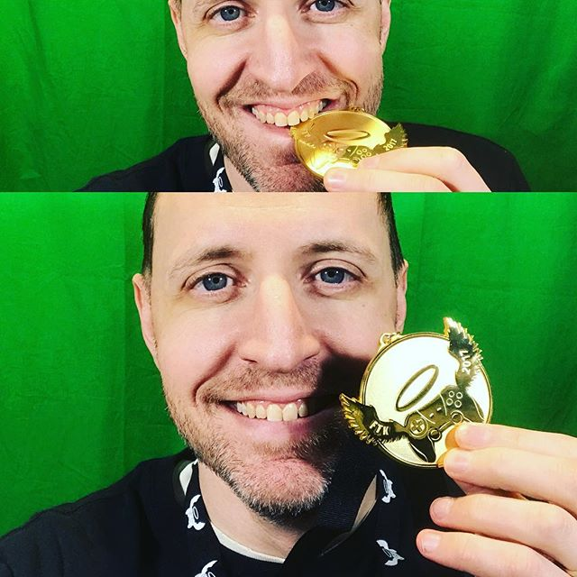 Look what I got today! Cool timing #extralife2017 #goldmedal #forthekids #olympicspirit🏅