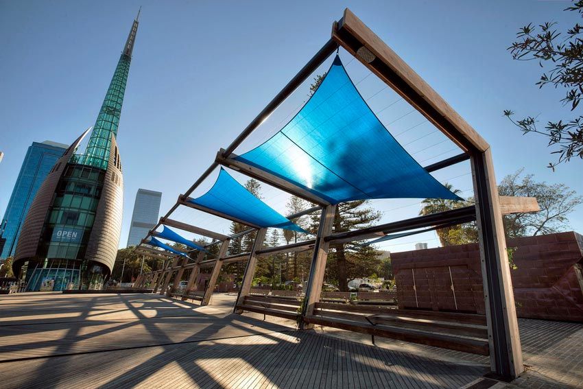 Elizabeth Quay recycled timber posts
