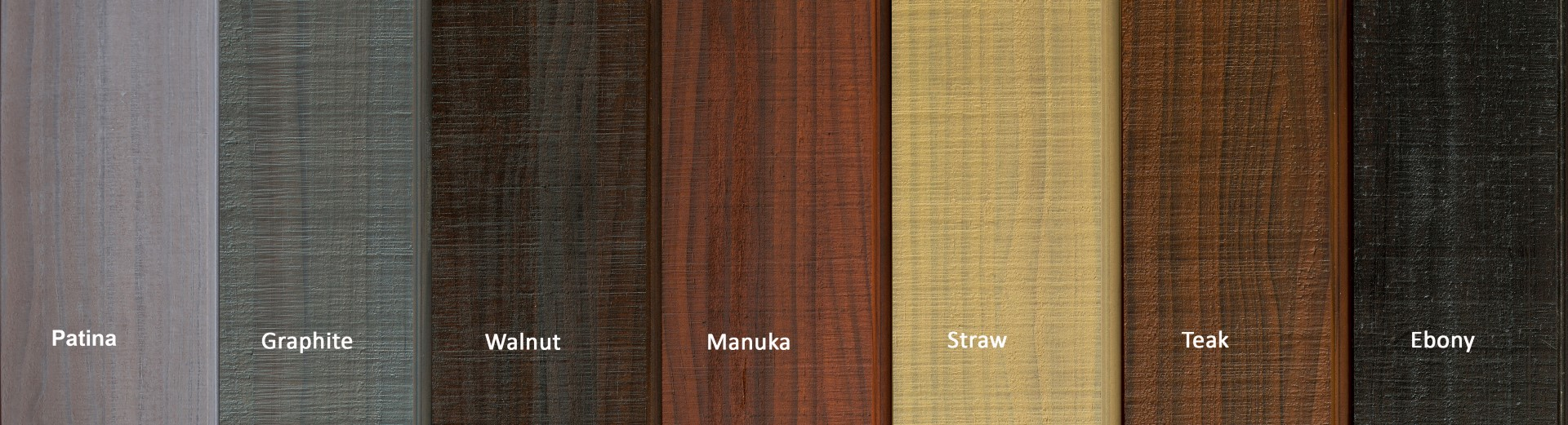 Colours above are indicative only. These are shown as two coats on Thermally Modified Vulcan Timber Fine Bandsawn Finish.