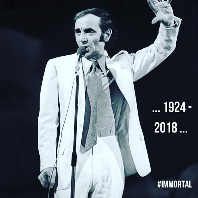 "Except for those days in which I've lost close family members, today is yet the saddest day in my life. Something surreal takes place when your heroes die. It cannot be spoken. Cannot be explained. It's not even about feelings. It is as if it instantly transforms you into something you had not been even a moment before. #aznavour RIP . . ""My features have aged of course under my makeup But my voice is strong, my gesture's precise I have resilience My heart embittered a bit with old age But I have ideas, I know my job and I still believe in it."" . . ""Mes traits ont vieilli, bien sûr, sous mon maquillage Mais la voix est là, le geste est précis et j'ai du ressort Mon cœur s'est aigri un peu en prenant de l'âge Mais j'ai des idées, j'connais mon métier et j'y crois encore."""