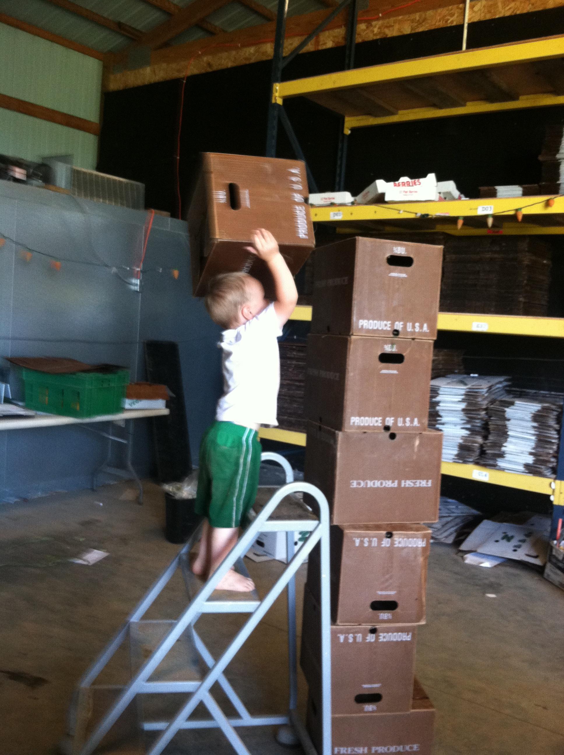 farm kid building blocks