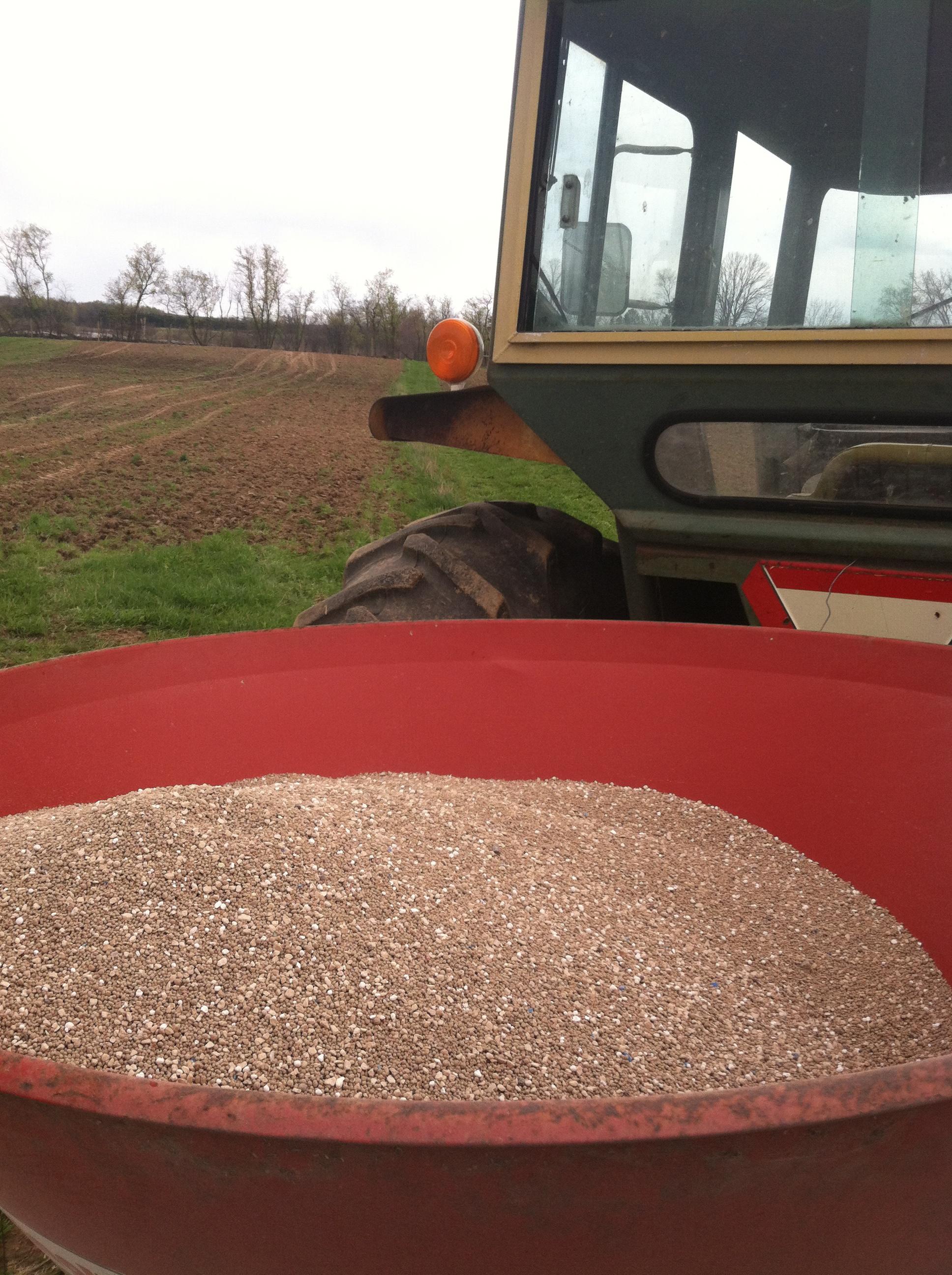 so we got to work spreading soil amendments
