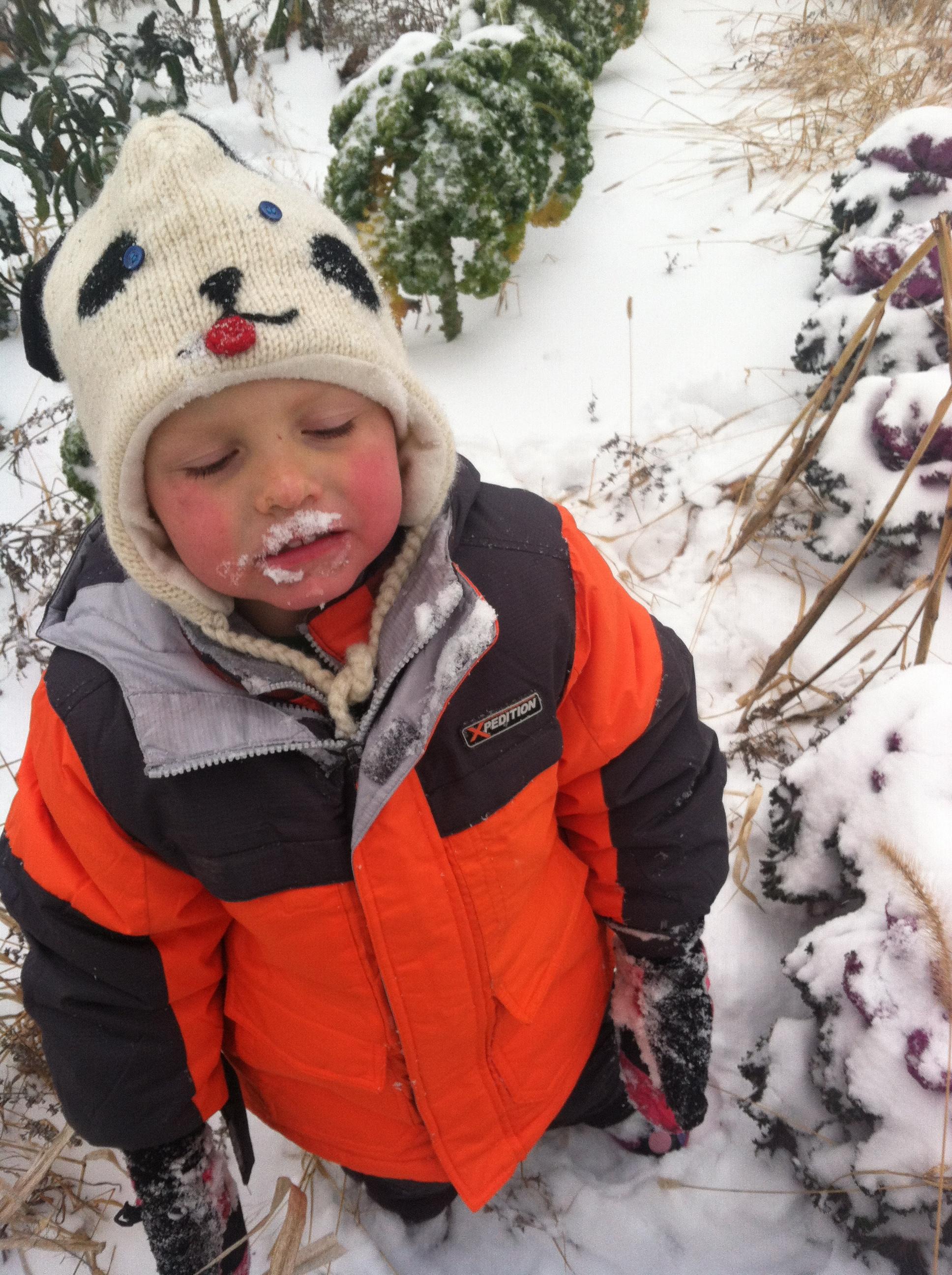Taste testing the snow!