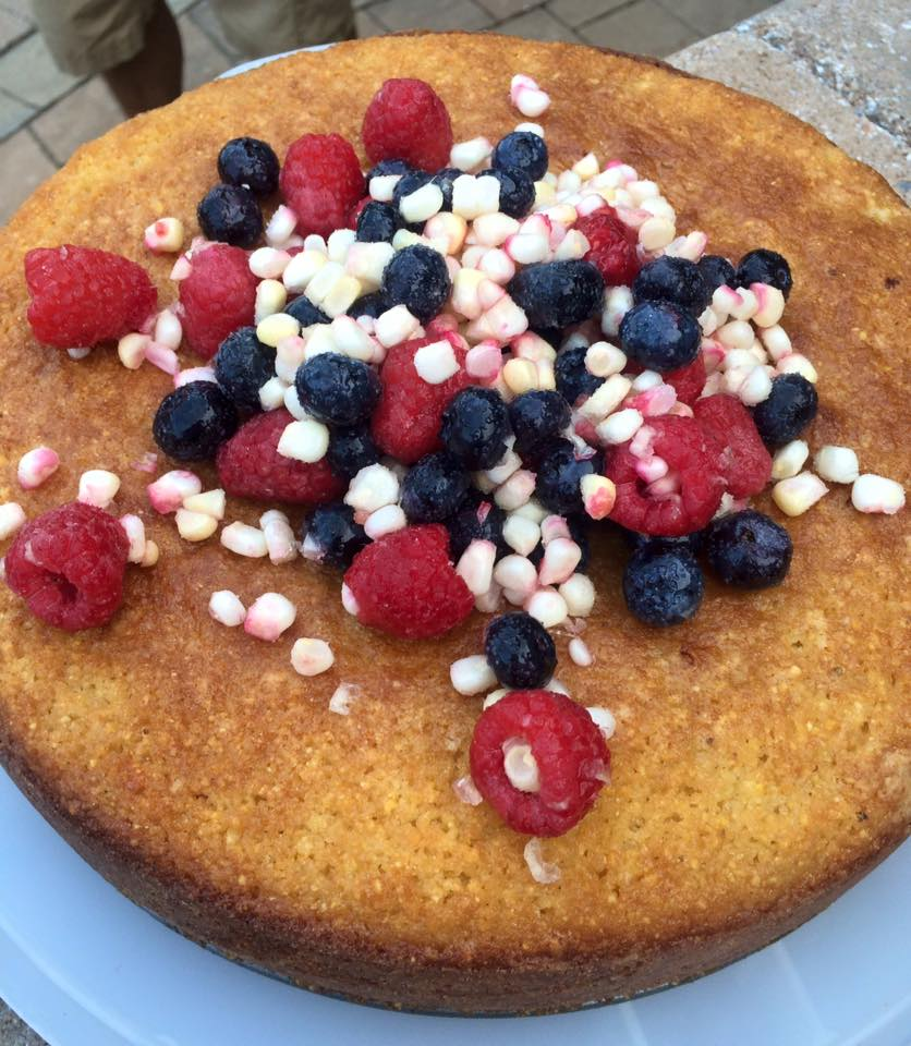 a highlight from the farm party...  a beautiful sweet corn cake with raspberries and blueberries.  Thanks for sharing!