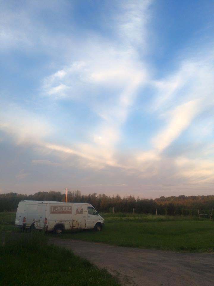 a beautiful early morning farm sky