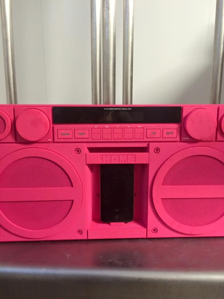 hot pink boombox. necessary.