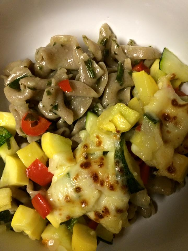 Dinner of the week award goes to herbed pasta with a bunch of sauteed summer squash, peppers, and onions with cheese curds on top and melted in the broiler.