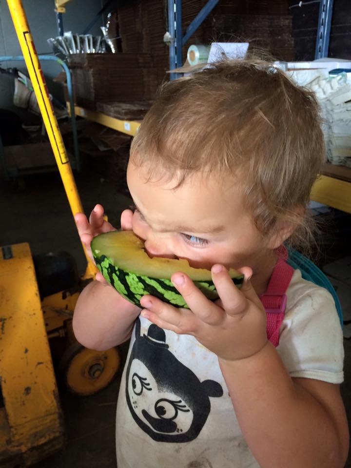 Sadie enjoying some watermelon