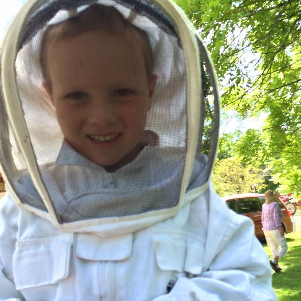 Otto at Steady Hand Farm getting some time with the bees thanks to Pollinate MN!
