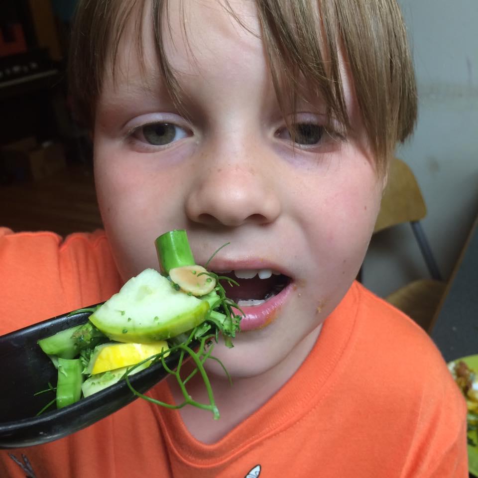 Otto eating his salad