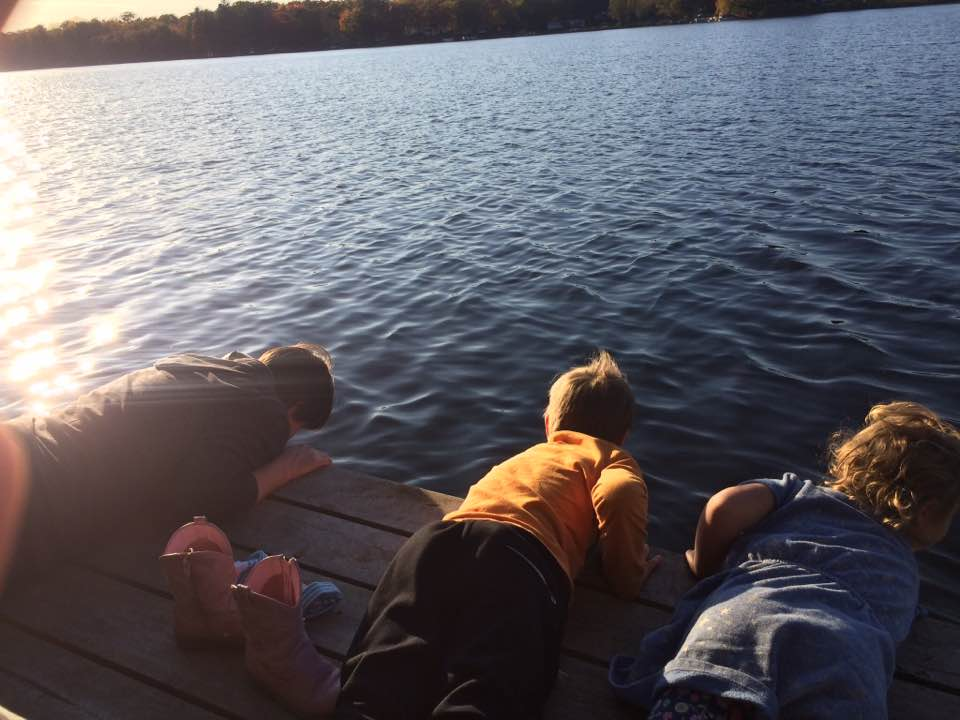 family hike and testing to see how cold the water is