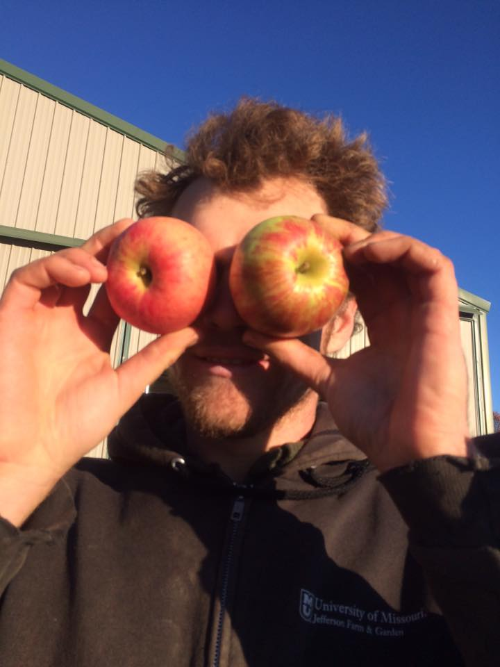 Andrew and his apple eyes. We have a couple of wild apple trees in the pastures and we made some cider this season. We will be putting in a few more apple trees with eyes to the future to be able to include apples in future storage boxes.
