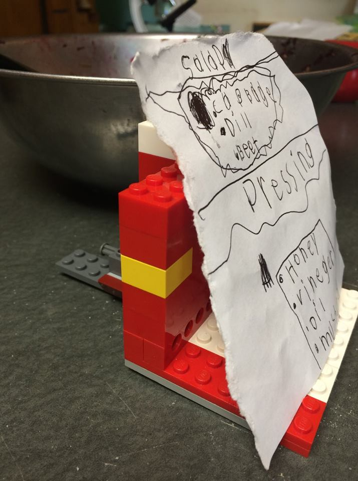 Otto's sign for his salad on a specially made Lego display